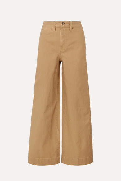 Madewell Emmett Stretch Cotton-canvas Wide-leg Pants - Sand