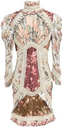 Zimmermann Pleated Appliqued Floral-print Silk Mini Dress