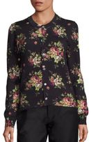 Comme des Garcons Floral-Print Wool Jersey Cardigan
