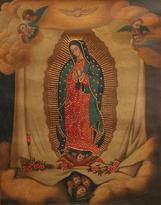 Oil and Bronze Leaf on Canvas Religious Art, 'Virgin of Guadalupe'