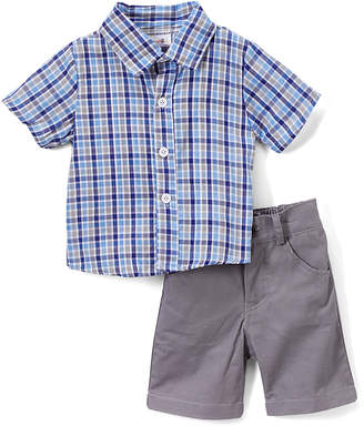 Sweet & Soft Boys' Casual Shorts Blue - Blue & Navy Plaid Button-Up & Gray Shorts - Toddler
