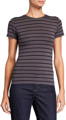 ATM Anthony Thomas Melillo Striped Stretch Cotton Short-Sleeve Baby Tee