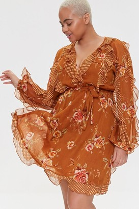 Forever 21 Plus Size Ruffled Rose Print Dress
