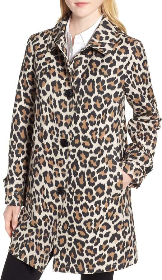 Kate Spade Leopard Print Water Repellent Coat