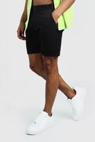 boohoo Mens Black Skinny Fit Chino Short In Mid Length, Black