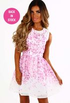 Pink Boutique Loveable Lady Pink And White Skater Dress