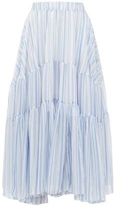 Romance Was Born Louis Stripe-print Tiered Voile Skirt - Womens - Blue White