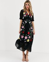 Asos Design DESIGN dobby embroidered button through maxi tea dress in black