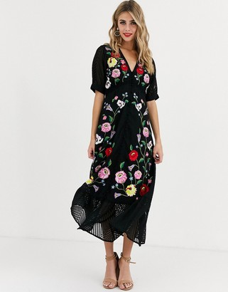 ASOS DESIGN dobby embroidered button through maxi tea dress in black