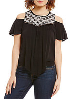 Democracy Cold-Shoulder Hanky Hem Top
