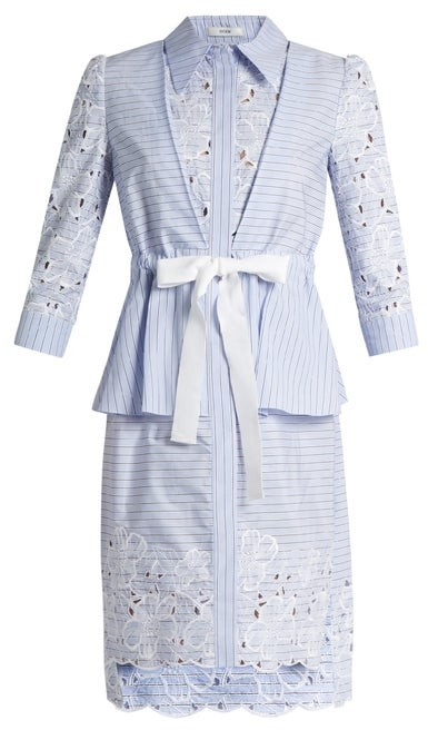 Erdem Zuni Striped Broderie-anglaise Dress - Blue White