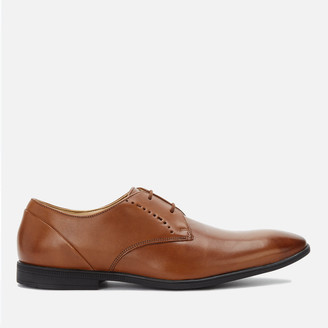 Clarks Men's Bampton Lace Leather Derby Shoes - Tan