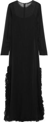 Max Mara Carabo Ruffle-trimmed Silk-chiffon Maxi Dress