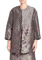 Josie Natori Mixed Print Jacquard Coat
