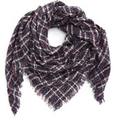 David & Young Women's Boucle Plaid Triangle Scarf