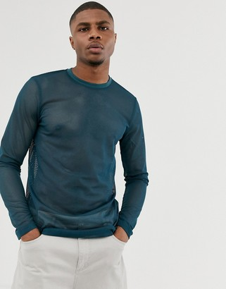 Asos Design DESIGN long sleeve t-shirt in navy mesh