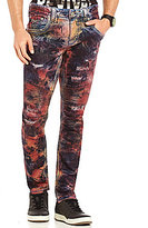 Rock Revival Tie Dye Distressed Pintuck Straight-Fit Tapered Moto Jeans
