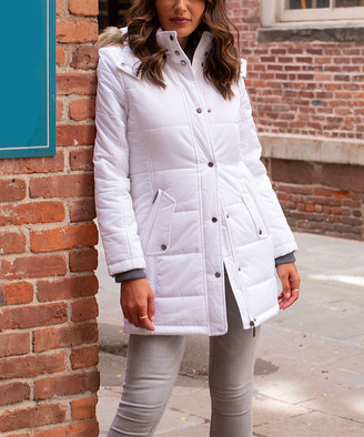 Weatherproof Women's Puffer Coats WHITE - White Faux Fur-Trim Hooded Puffer Coat - Women