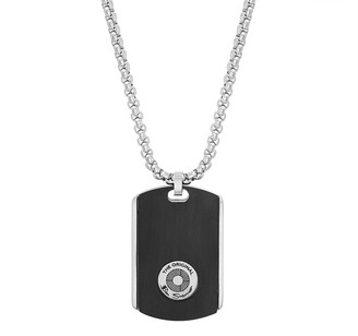"""Ben Sherman Men's 25"""" Two Tone Circular Design Dog Tag Pendant Necklace with Stainless Steel Box Chain"""