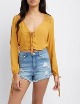 Charlotte Russe Crochet-Trim Split Sleeve Crop Top