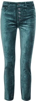 Paige Hoxton Teal Slim-leg Stretch-velvet Jeans