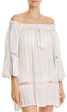 Surf.Gypsy Sequin Striped Off-the-Shoulder Tunic Swim Cover-Up