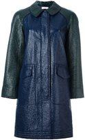 Tory Burch single breasted coat - women - Polyurethane/Cotton - 2