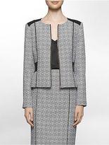 Calvin Klein Womens Black + White Crosshatch Suit Jacket