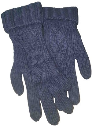 Chanel Blue Cashmere Gloves