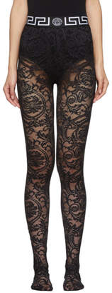 Versace Underwear Black Lace Empire Band Tights