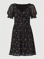 Very Mesh Sweetheart Neck Mini Dress - Floral