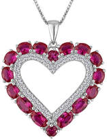 Fine Jewelry Lab-Created Ruby & White Sapphire Sterling Silver Heart Pendant Necklace