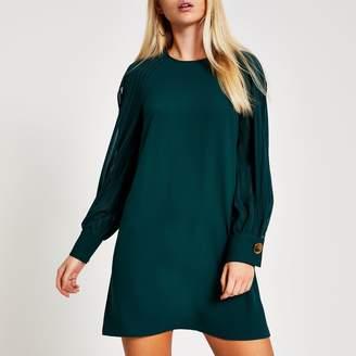 River Island Womens Green sheer striped split sleeve swing dress