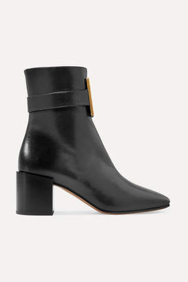Givenchy Logo-embellished Textured-leather Ankle Boots - Black