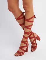 Charlotte Russe Lace-Up Chunky Heel Sandals