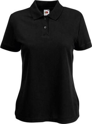 Fruit of the Loom Womens FOTL Lady-Fit 65/35 Polo T Shirt-Black-Medium