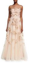 Carolina Herrera Embellished Tulle Illusion Gown, Blush