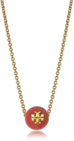 Tory Burch Coral Red Pearl Goldtone Brass Chain Necklace