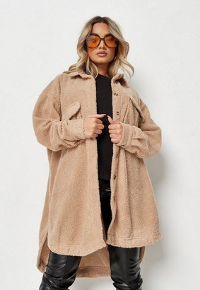 Missguided Stone Borg Teddy Oversized Shirt Dress