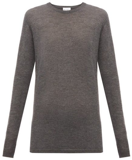 Raey Long Line Fine Knit Cashmere Sweater - Womens - Charcoal