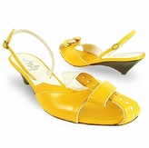 Amaltea Lemon Front Tie Calf Leather Slingback Shoes