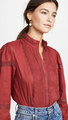 La Vie Rebecca Taylor Long Sleeve Voile Lace Top