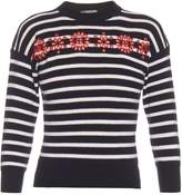 Alexander McQueen Cut-out embroidered-floral striped sweater