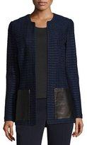 St. John Glazed Ribbon Tweed Jacket w/ Leather Patch Pockets