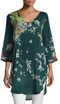 Johnny Was Ficher Scoop-Neck 3/4-Sleeve Printed Blouse, Plus Size