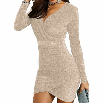 UNiiyi Women's Sequin Cocktail Dress Sexy V Neck Long Sleeve Wrap Bodycon Glitter Mini Party Dress New Years Eve Dresses for Women