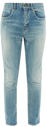 Saint Laurent Washed Skinny-leg Jeans - Mens - Light Blue
