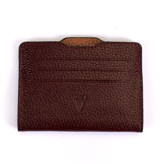 Double Card Holder Burgundy & Brown