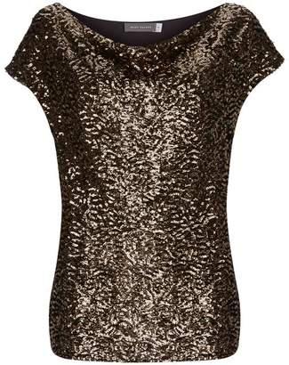 Mint Velvet Gold Sequin Front Cowl Top