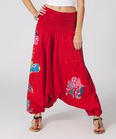 Aller Simplement Red Floral Convertible Harem Pants